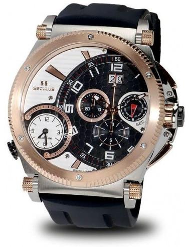Men's SECULUS 4500.2.504B SIL SSR B-W Chronograph Dualtime Watch