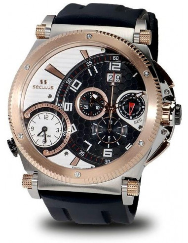Men's SECULUS 4500.2.504B SIL SSR B-W Chronograph Dualtime Watch