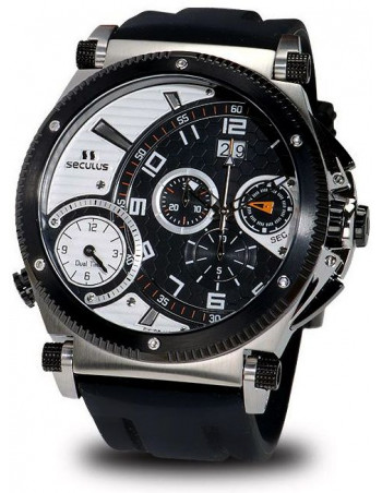 Men's SECULUS 4500.2.504B SIL SSB B-W Chronograph Dualtime Watch