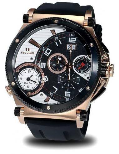 Men's SECULUS 4500.2.504B SIL RB B-W Chronograph Dualtime Watch