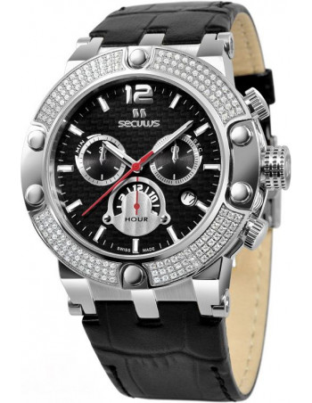 Men's SECULUS 4490.2.503D Black Dial Luxury Chronograph Watch