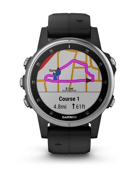 Garmin Fēnix® 5S Plus Silver with Black Band 010-01987-21 smartwatch Garmin - 5