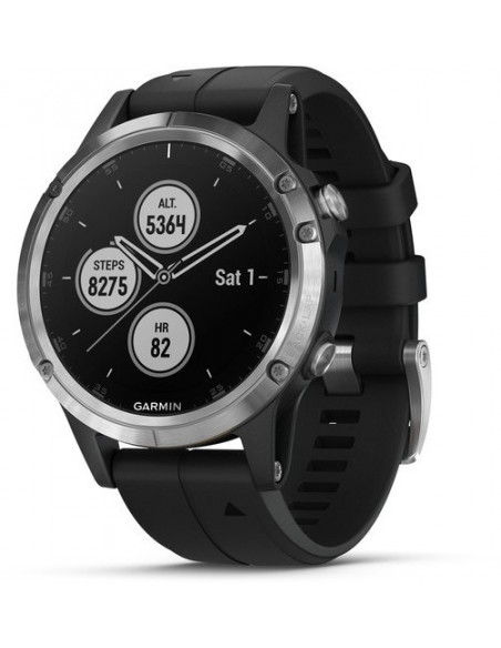Garmin Fēnix® 5S Plus Silver with Black Band 010-01988-11 smartwatch Garmin - 1