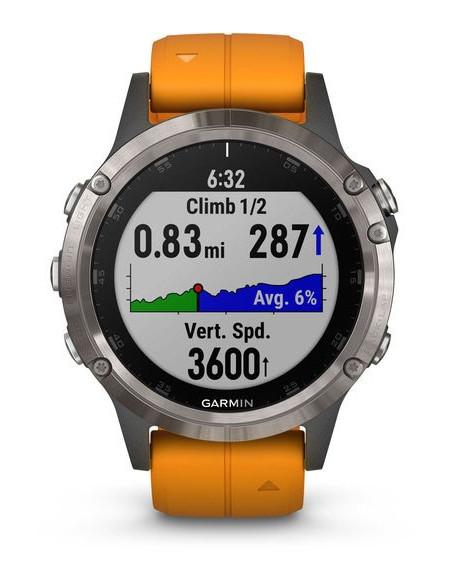 Garmin Fēnix® 5S Plus Sapphire Titanium + Orange band 010-01988-04 smartwatch Garmin - 4