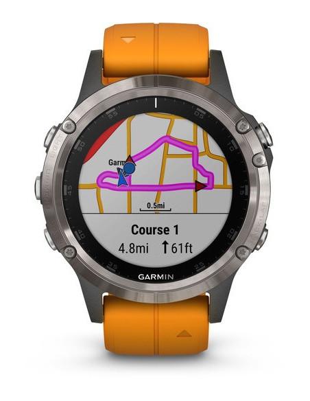 Garmin Fēnix® 5S Plus Sapphire Titanium + Orange band 010-01988-04 smartwatch Garmin - 7