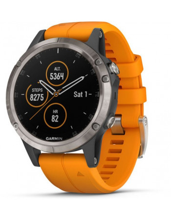 Smartwatch Garmin Fēnix® 5S Plus Saphir, Titan mit orangefarbenem Armband 010-01988-04 Garmin - 1
